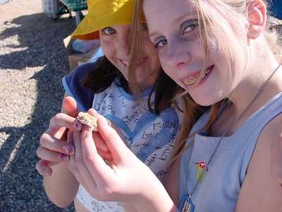 A couple of the girls found a horned toad near camp.