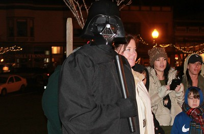 Chris Evans dressed up as Darth Vader during a memorial for Princess Leia on the Arcata Plaza. (Natalyla Estrada - The Times-Standard)