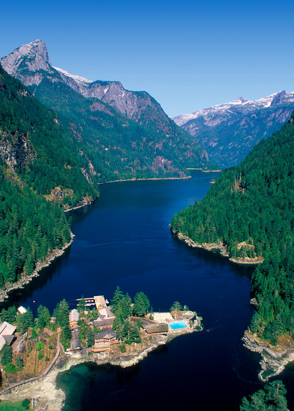 Aerial view looking into Princess Louisa Inlet.