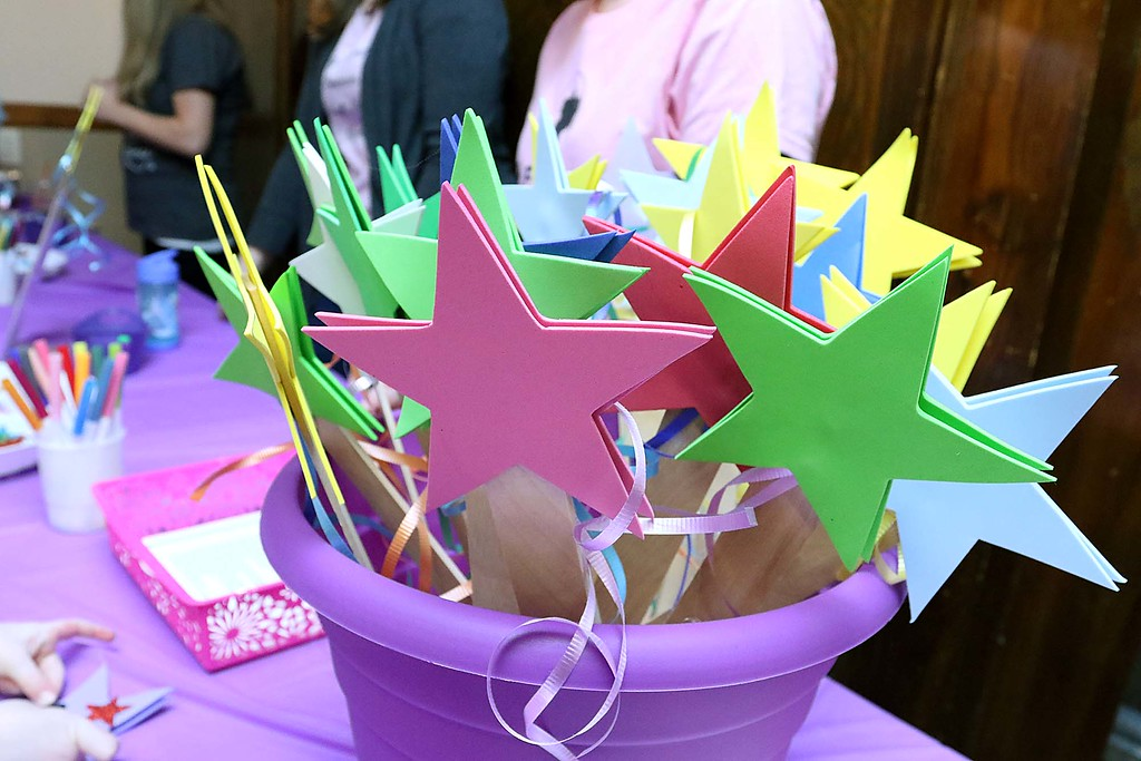". Thursday was ""Princess Day\"" at Leominster City Hall. they had wands for the kids to decorate at the event. SENTINEL & ENTERPRISE/JOHN LOVE"