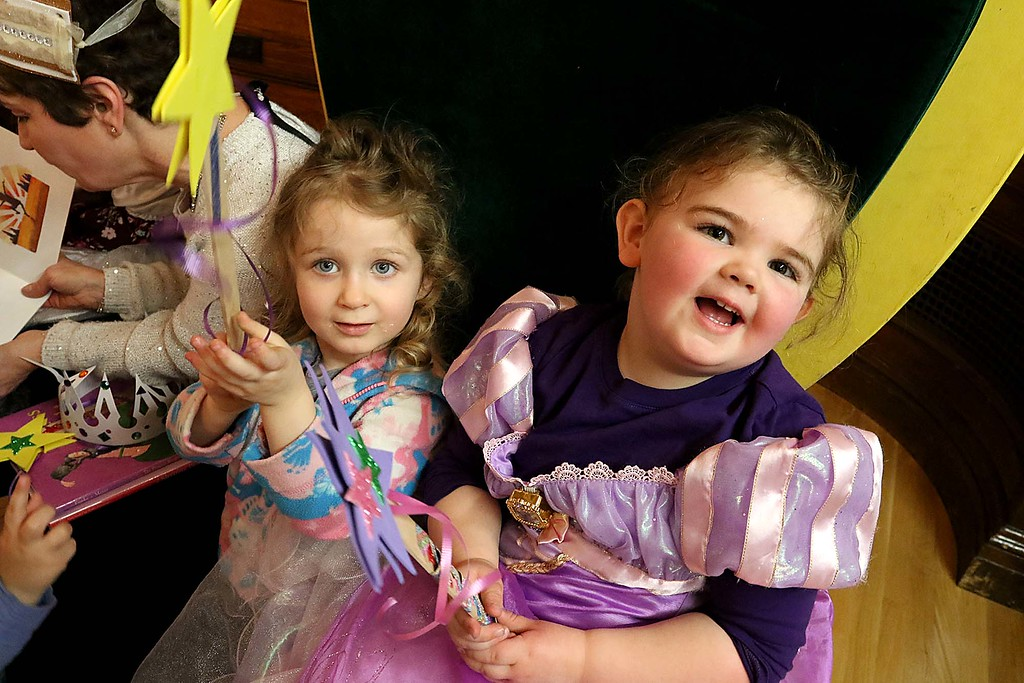 ". Thursday was ""Princess Day\"" at Leominster City Hall. Mila Muse, 3, and Abigail Driscoll, 3, dressed as Rapunzel enjoyed themselves at the event. SENTINEL & ENTERPRISE/JOHN LOVE"