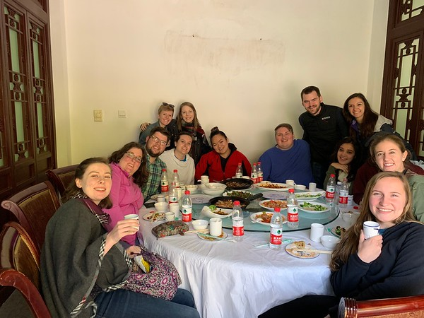 Pausing after a delicious luncheon of Chinese delicacies on the way to The Great Wall.