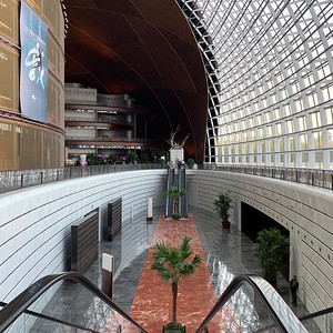 The interior of Beijing's  National Centre for the Performing Arts is reminiscent of Philadelphia's Kimmel Center, where the Westminster Symphonic Choir regularly performs.