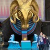 Posing before the golden ram from the set of Aida at the National Centre for the Performing Arts.