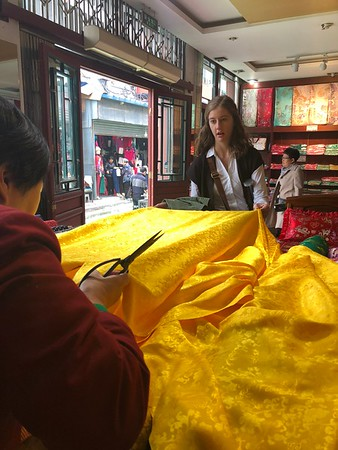 Westminster Choir member Rachel Feldman purchased some beautiful silk as a souvenir in Beijing.
