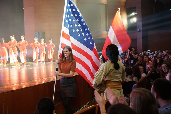 Westminster Choir member Rachel Feldman carried the American flag in the opening ceremony.