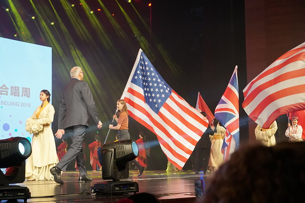 Westminster Choir member Rachel Feldman carried the American flag in the opening ceremony.  She was followed by WCC Dean Marshall Onofrio.