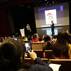 Choral conductors and singers used their phones to capture Professor Joe Miller's lecture about choral formants.