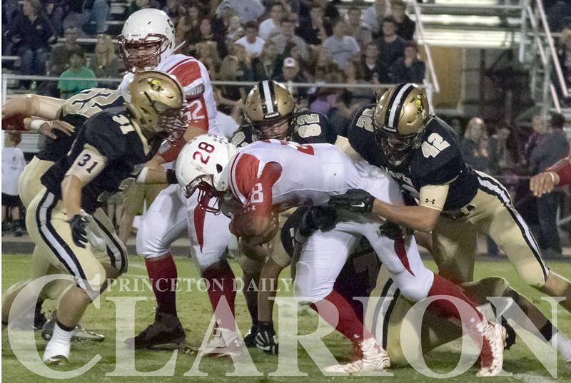 Princeton Community High School sophomore quarterback Maleek Hardiman rushes for a short gain during a game against Jasper Friday.