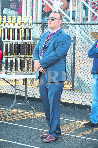 Daily Clarion/John Roark<br />  PCHS  band director Scott Salmond watches his Marching Tigers compete during Saturday evening's Indiana State Scholastic Music Association Open Class C Semi-State Marching Band competiton at Indianapolis Decatur Central High School.
