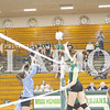 Lexi Lashbrook goes for a dig in a match against Shakamak earlier in the season. On Monday, Lashbrook tallied 11 blocks and eight kills in a win against Loogootee.