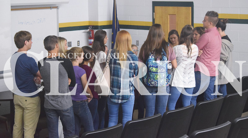 The group of about 20 National Honor Society and Student Advisory Council members discuss how they thought the first anti-bullying session with freshman went Thursday morning.