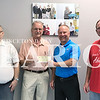 Daily Clarion/Andrea Howe <br /> Princeton Knights of Columbus and clients of Arc of Gibson County collected $6,431.91 in donations from the annual Tootsie Roll drive in Princeton this spring to support programs for Arc of Gibson County clients. Pictured are Danie...., Knights of Columbus co-chair Phil Perry, Arc of Gibson County Director Stan Keepes and Knights of Columbus co-chair David Lutz.