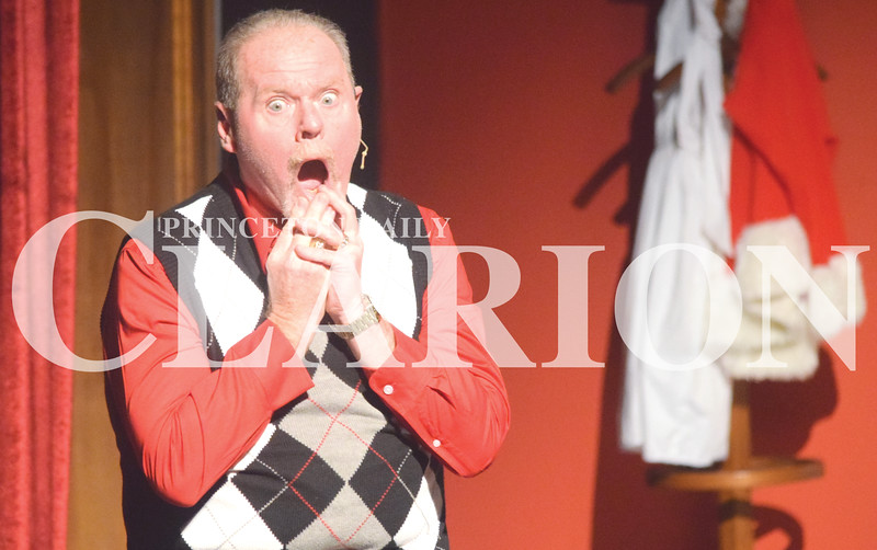 """Quiche Matchen/ Daily Clarion <br /> Rod Vickers gasps as he talks about Poinsettias as """"Phil"""" during rehearsal for """"Uh-Oh, Here Comes Christmas"""" the play presented by Broadway Players at Princeton Theatre and Community Center Thursday night. The show kicks off Friday and the last show is Dec. 9."""