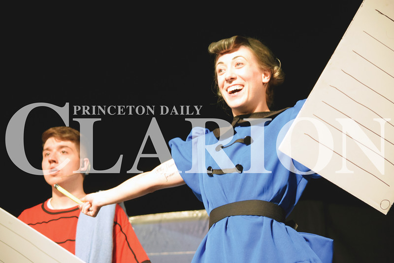 """Daily Clarion/Rachel Graber Akpotu<br /> Linus (Aaron Weeks) and Lucy (Kara Gray) rehearse a scene from Broadway Players' production of """"You're a Good Man, Charlie Brown"""" presented at Princeton Community Theatre this weekend and next weekend. Show times are 7 p.m. Friday and Saturday, 2 p.m. Sunday and again at 7 p.m. June 23-24 and 2 p.m. June 25. Tickets are $15 per person, available at the box office or online at  <a href=""""http://www.broadwayplayers.org"""">http://www.broadwayplayers.org</a>"""