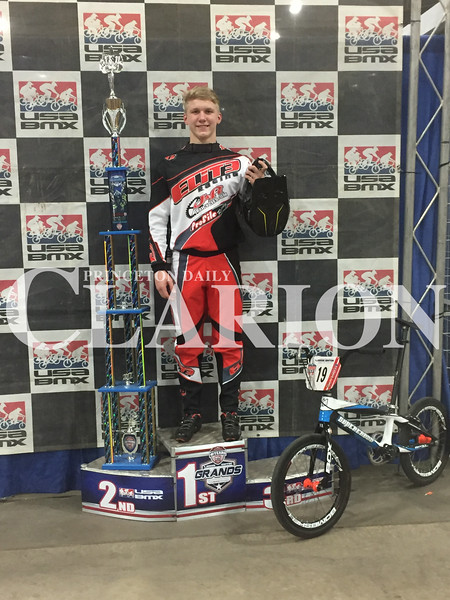 Hoover named Grands National Champion<br /> photo provided<br /> Ft. Branch's Landon Hoover won the USABMX Grands National over the weekend. The event took plalce in Tulsa, Oklahoma and Hoover, racing for Elite Racing, took first place in the 15 Intermediate division.