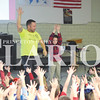 Quiche Matchen/ Daily Clarion <br /> <br /> Matt Hart and St. Joe third grader Ben Siebert put their hands up to show that if an incident happens more than once it is bullying.