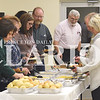 Quiche Matchen/ Daily Clarion <br /> <br /> Gibson County Soil and Water Conservation District hosted their 70th annual meeting last Thursday at the Fort Branch Senior/Community Center. Attendees lineup the R'z Cafe catered meal.