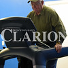 Rachel Graber Akpotu/Daily Clarion<br /> Kenneth Conklin tackles the treadmill at New Image Family Fitness Center after making the trip to the gym from Fort Branch.
