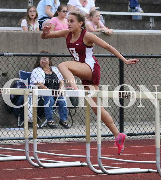 Lucas Whitten/Daily Clarion Archive<br /> <br /> Gibson Southern's Sammi Bittner hurdles her way to regional championships in the 100 and 300-meter hurdles at Evansville Central High School.