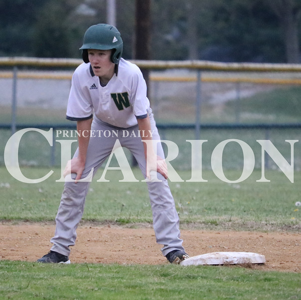 Lucas Whitten/Daily Clarion Archive<br /> Trojan Trent Holder stands on second base in a contest against Gibson Southern High School earlier this season at WMHS. On Monday, Holder scored a pair of runs in the 6-1 Trojan sectional semifinal victory over Springs Valley.