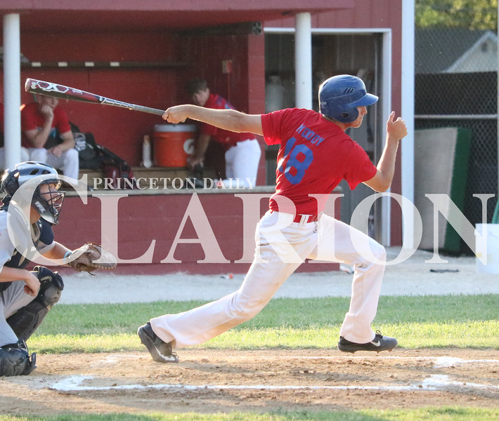 Lucas Whitten/Daily Clarion<br /> Austin Moody smacks a base hit against Rockport on Tuesday at Gil Hodges Field. Moody finished the contest 3-5 with two runs and three RBIs in the 20-5 Post 25 victory.