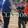 Lucas Whitten/Daily Clarion<br /> <br /> Denny McLain (left) shakes hands with Ft. Branch starting catcher Annabel Dawson (right) prior to the start of Friday's contest at Jack Bishop Ballpark in Princeton.