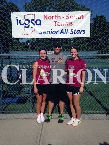 photo provided<br /> <br /> Two Gibson Southern Lady Titans competed at the ICGSA North-South Tennis All-Star game over the weekend. Camille Greenwell (left) played at No. 1 doubles and Hayley Doty (right) played at No. 2 doubles for hte Lady Titans. Titans head coach Kyle DeBord (middle).