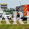 Daily Clarion/Andrea Howe<br /> First responders work at the scene of a three-car accident on U.S. 41 at County Road 100 West Friday afternoon.