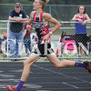 Lucas Whitten/Daily Clarion<br /> Justin Niederhaus runs the 1600 at Princeton Community High School during sectionals.