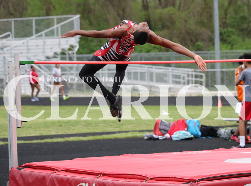 Lucas Whitten/Daily Clarion Archive<br /> <br /> Stephan Wilkerson leaps during a dual meet against Evansville Bosse at Princeton Community High School.