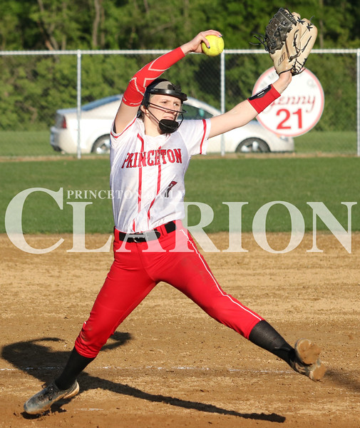Lucas Whitten/Daily Clarion Archive<br /> <br /> Kaci Goforth throws a complete game against Washington at Princeton Community High School, allowing two runs in a 12-2 Princeton win this season.