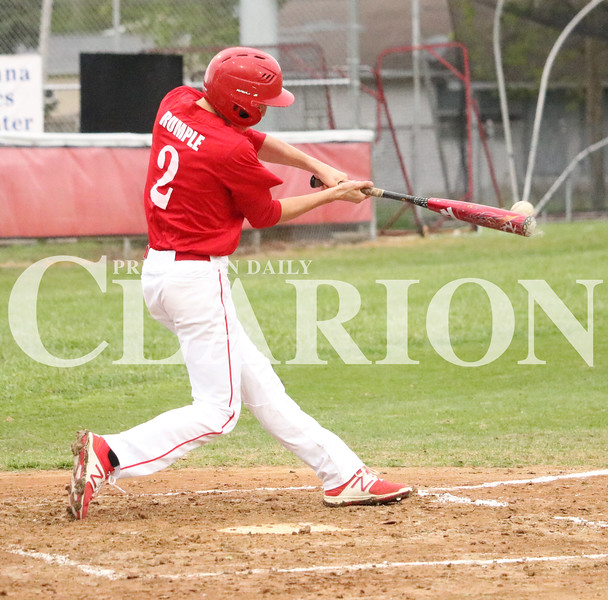 Lucas Whitten/Daily Clarion Archive<br /> <br /> Heath Rumple smacks a base hit against Mount Carmel earlier this month at Gil Hodges Field.