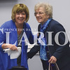 Quiche Matchen/ Daily Clarion<br /> Julie Clark, president of the gift shop, and Gisela Richert, who has volunteered 11,000 hours, share a few laughs before the annual Gibson General Hospital Auxiliary spring luncheon Wednesday morning.