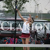 Lucas Whitten/Daily Clarion Archive<br /> <br /> Hayley Doty rips a serve against Boonville earlier this season at Gibson Southern High School. On Friday, Doty and doubles partner Katie Scott defeated Castle's No. 2 doubles team 6-1, 6-2.