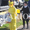"Quiche Matchen/ Daily Clarion<br /> Andrew Berberich dressed up as Pikachu from Pokemon and Raygen Hick as Wednesday Addams from ""The Addams Family"" with Cousin It as her Halloween basket collect candy at the annual Francisco Elementary Halloween walk Tuesday morning."