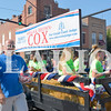Daily Clarion/Andrea Howe<br /> Circuit Judge candidate Abigail Brown Cox's float in the Labor Day Parade.