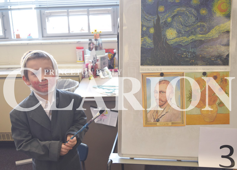 Quiche Matchen/ Daily Clarion <br /> Karter Stuckey-Earl (Vincent van Gogh) shows off his artwork while holding a paint brush in the Netherlands Thursday afternoon for the World Fair.