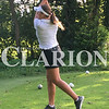 Suzy Hulfachor/For the Daily Clarion<br /> Claire Jones tees off during the Mt. Vernon Invitational during last season. Jones has been a key cog for the Lady Titans this season so far.