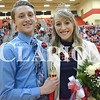 Daily Clarion/Andrea Howe<br /> Heath Rumple and Allison Craven are crowned 2018 Princeton Community High School basketball Homecoming King and Queen Saturday night at Tiger Arena.