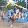 Quiche Matchen/ Daily Clarion  <br /> Dylan Terrel  of Helton holds on tight as he rides a horse bareback Tuesday night at the rodeo at the Gibson County Fairgrounds.