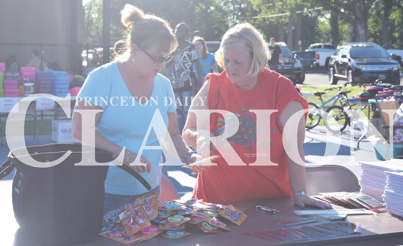 Quiche Matchen/ Daily Clarion archive<br /> Cynthia Schrodt and Nancy Neese of the Princeton Presbyterian Parish sort through the scissors and paper the church donated to the Summer 2 School Backpack Bash.