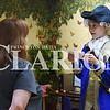Jake Bethel / Daily Clarion                         <br /> Raelynn Neyhouse portrayed George Washington in a living museum at Princeton Community Public Library Thursday. Pictured with her is her grandmother, Karen Keyhouse. Along with Neyhouse's reciting of some little known facts and common misconceptions about the first President of the United States, there was pioneer candy available and some slides featuring fun facts about America's first president and general.