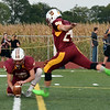 Grant Essenmacher/Daily Clarion Gibson Southern kicker Bryce Williams attempts an extra point against North Posey earlier this season. Williams is 53 of 54 on PAT attempts this season.