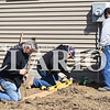 Sarah Loesch/Daily Clarion Ralph Relt, CT Montgomery and soon-to-be homeowner Nathan Madison, work at the site for the newest Gibson County Habitat for Humanity home on Madison Street in Princeton.