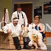 """Madison Brooks/Daily Clarion Carl Johnson as George Hay, Kristofor Schmidt as Paul and Janice Barniak as Rosalind at dress rehersal for """"Moon Over Buffalo"""" on Tuesday evening."""