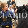 Sarah Loesch/Daily Clarion Braden Bartlow awaits judging in the Class 2 Angus showing Saturday afternoon at the Gibson County Beef Preview Show.