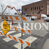Daily Clarion/Andrea Howe<br /> The 100 block of East State Street is closed to traffic as contractors prepare to raze the vacant IOOF building, after windows and the canopy are removed.