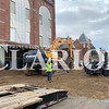 Daily Clarion/Andrea Howe<br /> A portion of the 100 block of East State Street is covered with soil to help protect the asphalt and underlying water main from heavy equipment used in preparation for the demolition of the Oddfellows building at 118 East State Street Monday morning. More equipment was arriving Monday in preparation to protect the adjacent Crickett's Pool Room and United Presbyterian Church buildings when demolition starts Tuesday.