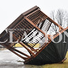 Sarah Loesch/Daily Clarion A gazebo was flipped on its top due to heavy winds in the Oakland City area Thursday morning. The storm damaged properties around the city and left wires and trees in the roadways.